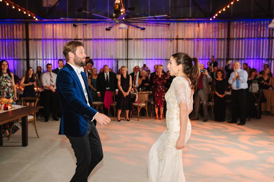 Groom and bride dancing at wedding reception www.marycostaweddings.com