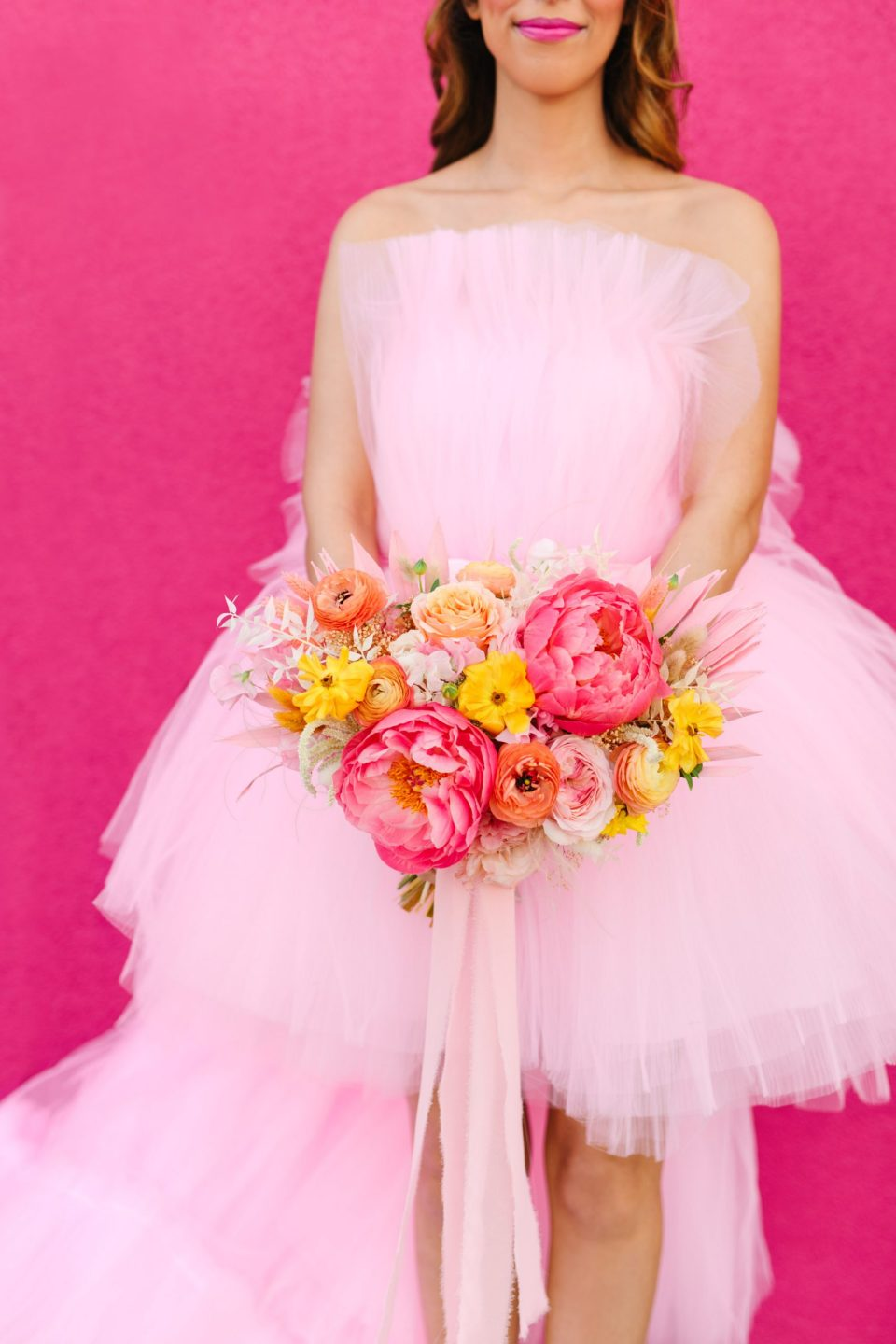 Pink bridal gown and peony bouquet www.marycostaweddings.com
