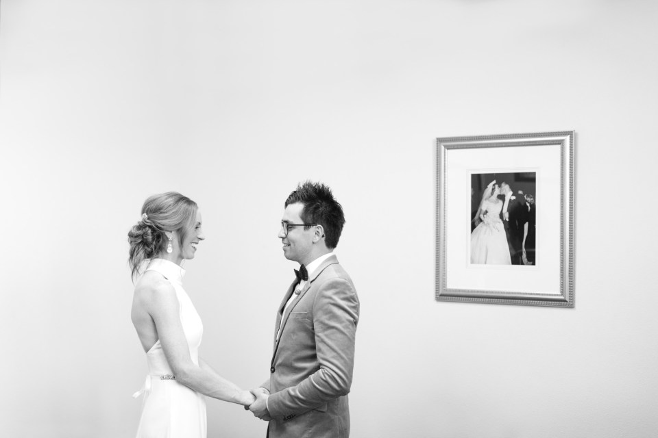 Bride and groom eloping at Courthouse - www.marycostaweddings.com