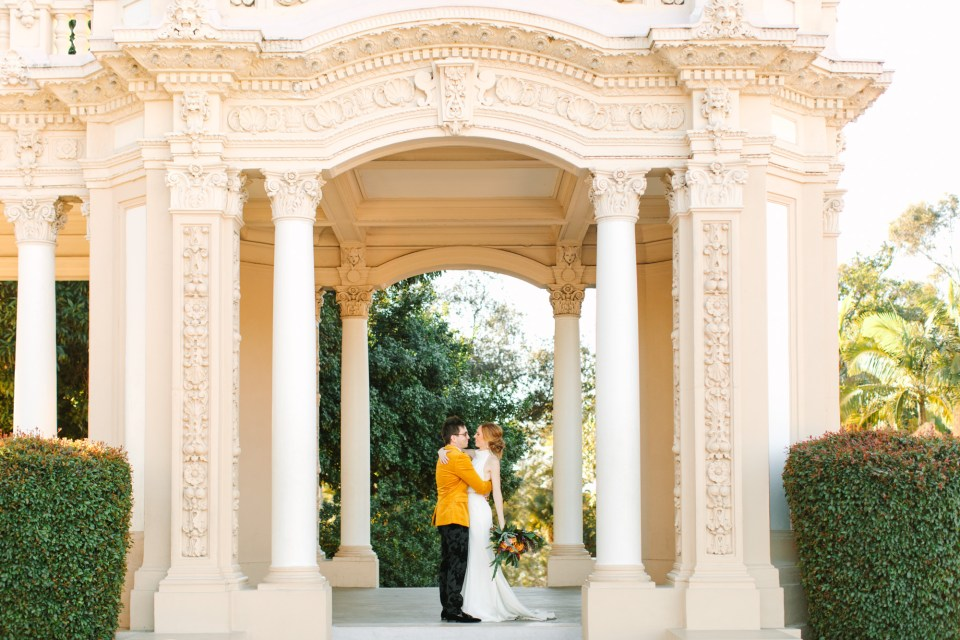 Bride and groom in Balboa Park San Diego - www.marycostaweddings.com