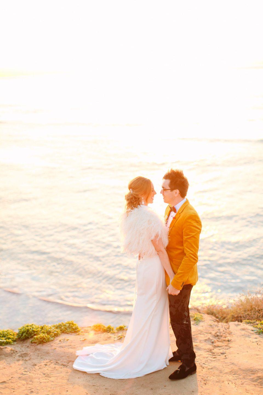 Bride and groom at beach sunset - www.marycostaweddings.com