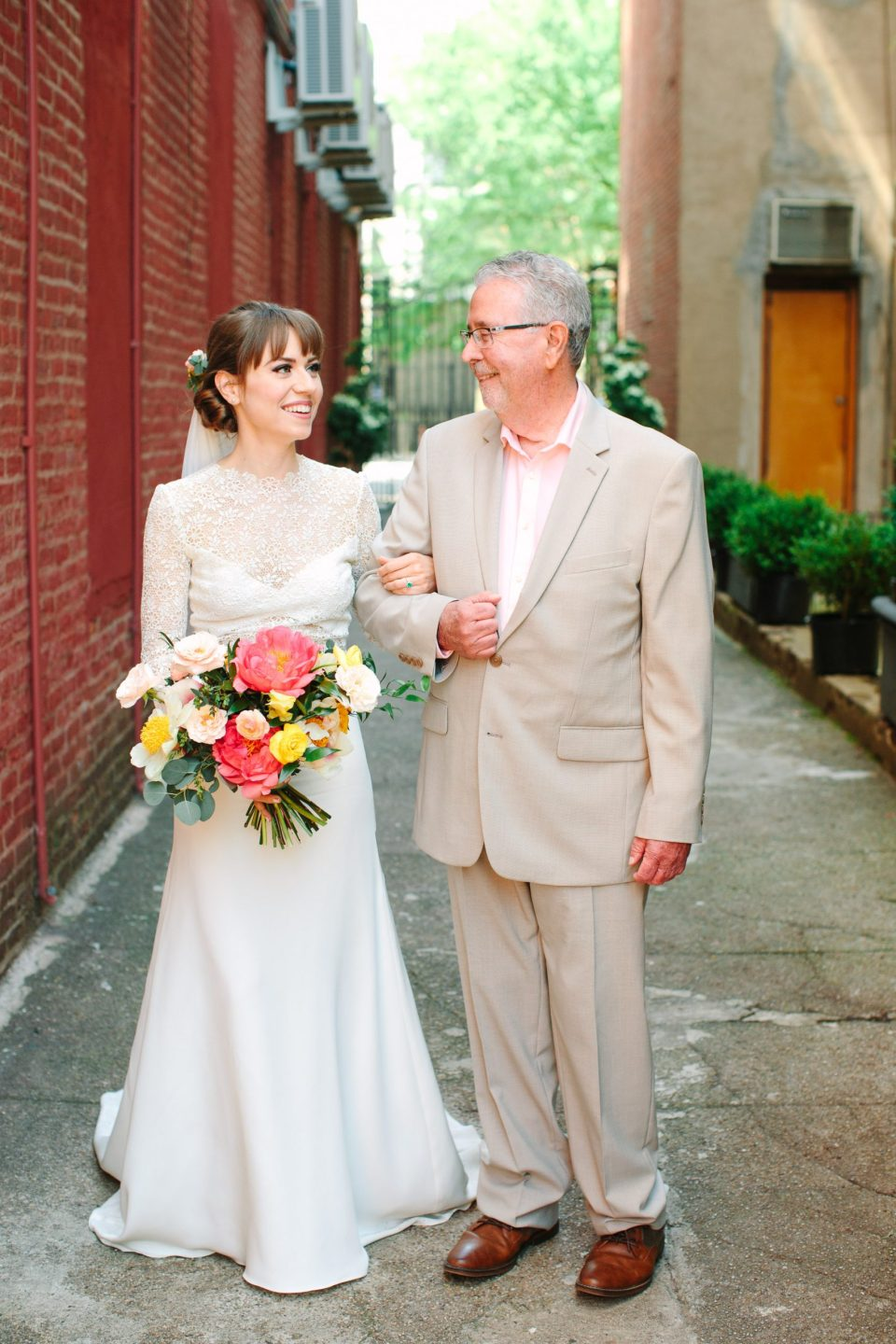 Bride and father waiting for ceremony - www.marycostaweddings.com
