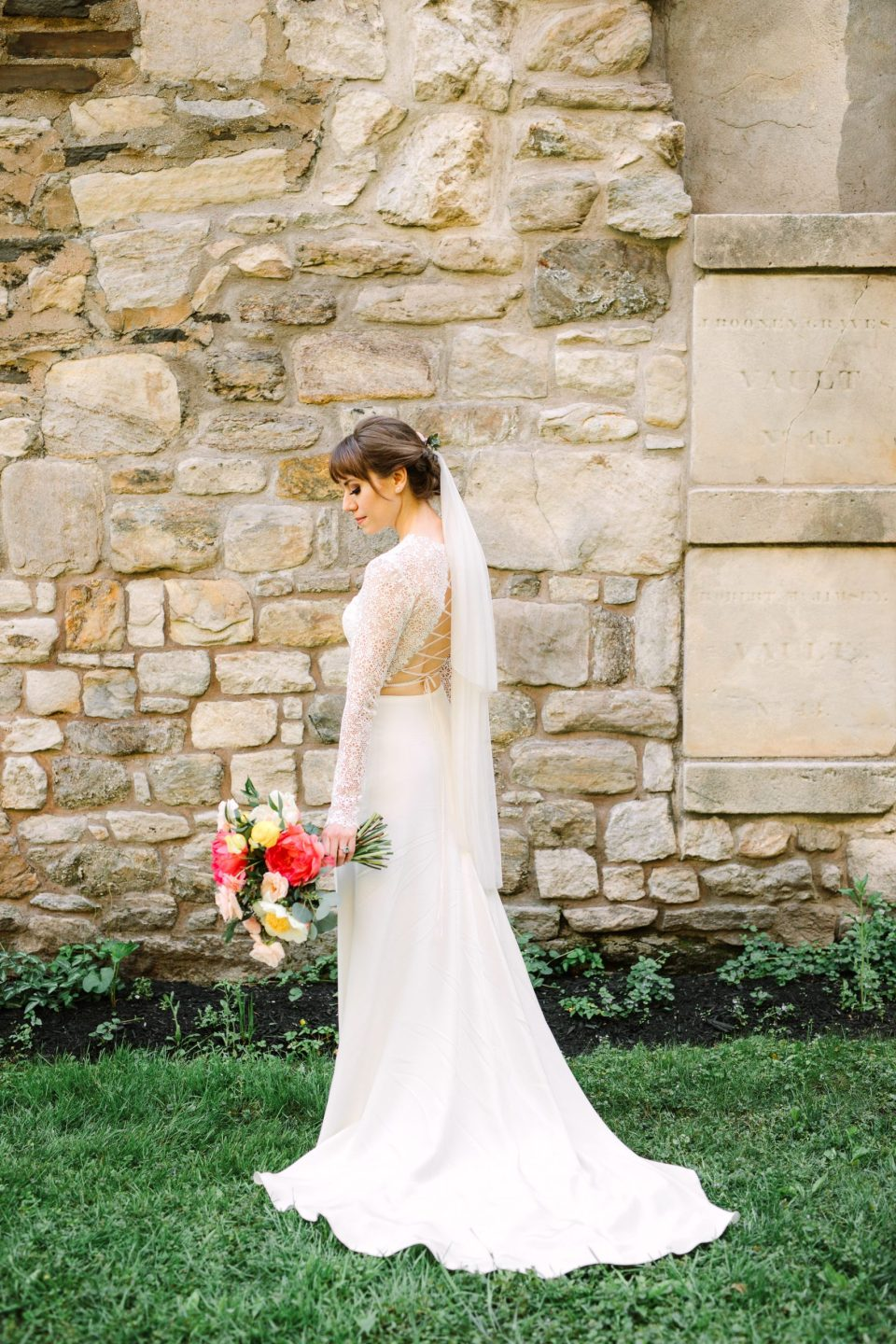 Anais Anette custom lace up gown - www.marycostaweddings.com