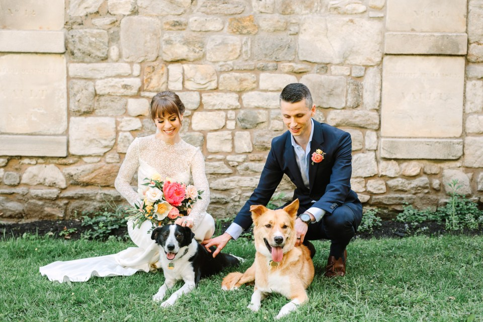 Emily and Luke with their rescue dogs - www.marycostaweddings.com