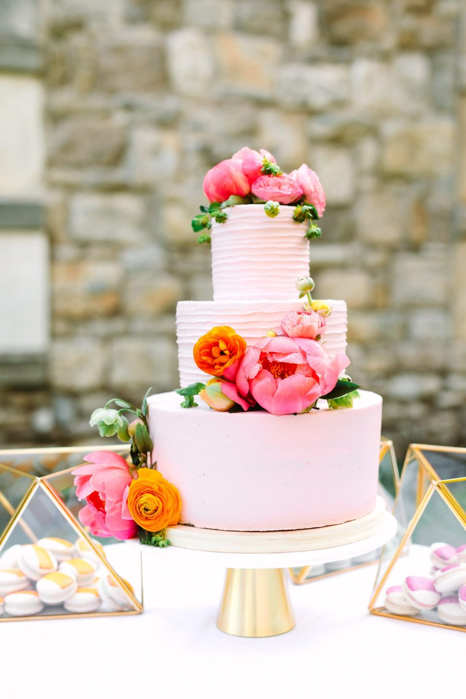 Pink vegan peony cake - www.marycostaweddings.com