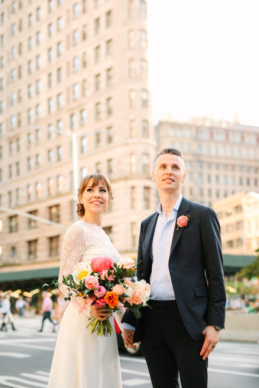 Wedding portrait at the Flatiron Building - www.marycostaweddings.com