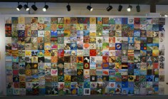 The Mosaic Project installation, the Hardy Gallery, Ephraim, WI. My 2010 piece is on the far right, 8th from the top.