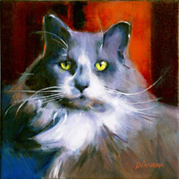 Valentine's Tuxedo, oil on canvas, 10″ x 10″, available