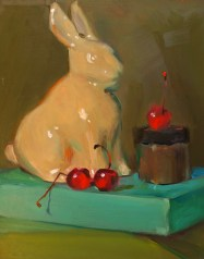 "Maraschino Rabbit, oil on board, 10"" x 8""."
