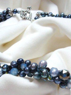 pearls and crystals blue
