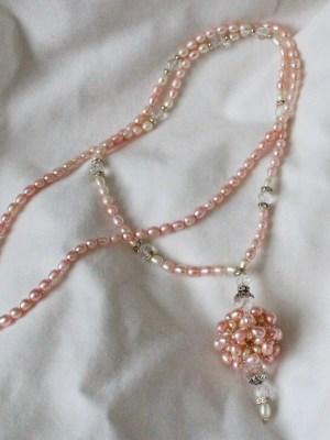 pink pearl ball long necklace velvet