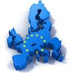 GDPR i- General Data Protection Regulation illustreras med en karta över EU-länderna färgade i blått med stjärnor som EU-kartan