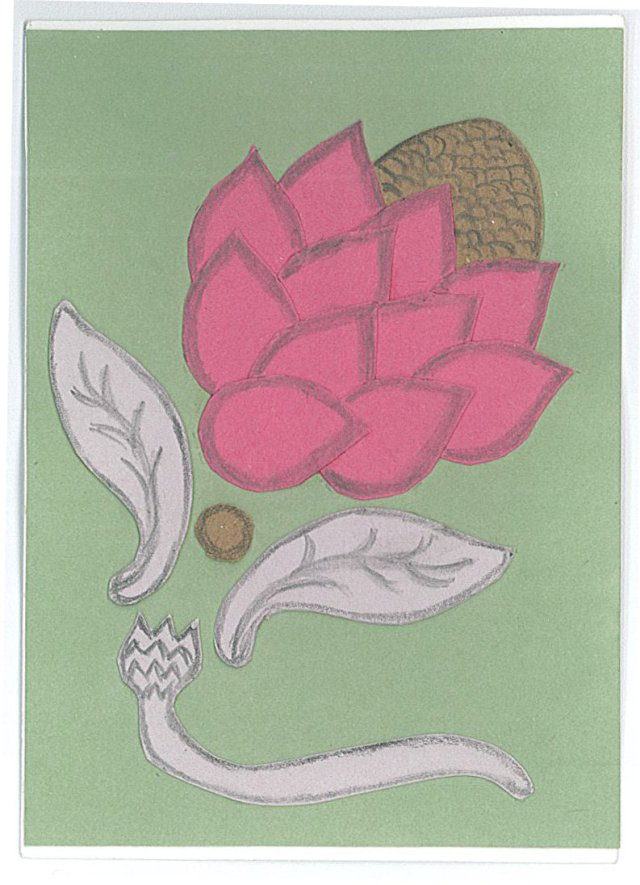 Artist trading card, cut paper, by Mary Warner.