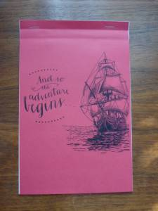 """""""And the adventure begins …"""" – Notepad from LRAC's Arts Resource Fair, 2016."""