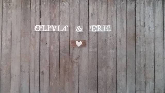 Olivia & Eric sign that was behind the head table. September 6, 2016.