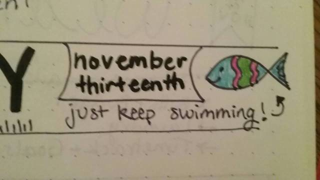 Olivia S., Bullet Journal, November 13, 2016. (Apologies for the blurriness. Hard to hold a book & photograph it at the same time.)