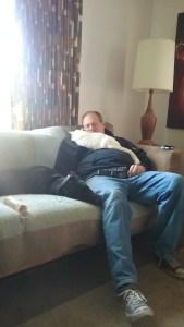 Stinky cuddling with Erik, May 24, 2017.