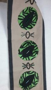 Corvid bag, leaves, detail of shoulder strap, by Mary Warner, 2017.