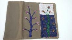 Bead applique needle case, front and back, by Mary Warner, 2017.
