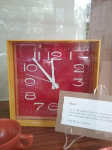 Mid-century modern clock in pop colors on exhibit at The Charles A. Weyerhaeuser Memorial Museum, Little Falls, MN, 2018.