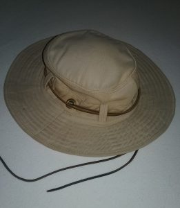 My trusty, tan, wide-brimmed hat, 2018.