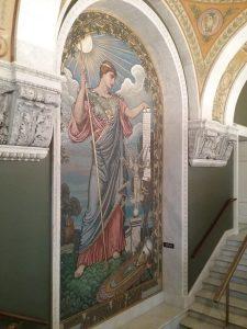Minerva Mosaic on the staircase to the mezzanine, Library of Congress, Thomas Jefferson Building, Washington DC, 2019.
