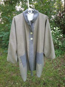 My successful tweedy bog coat, Mary Warner, July 2019.