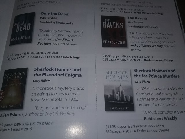 Minnesota and the Upper Midwest Holiday Book Guide from the University of Minnesota Press, 2019. Page showing 2 Sherlock Holmes books by Larry Millett.