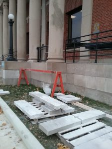 U.S. Post Office, Little Falls, MN, October 30, 2019. Cement facing panels awaiting installation.