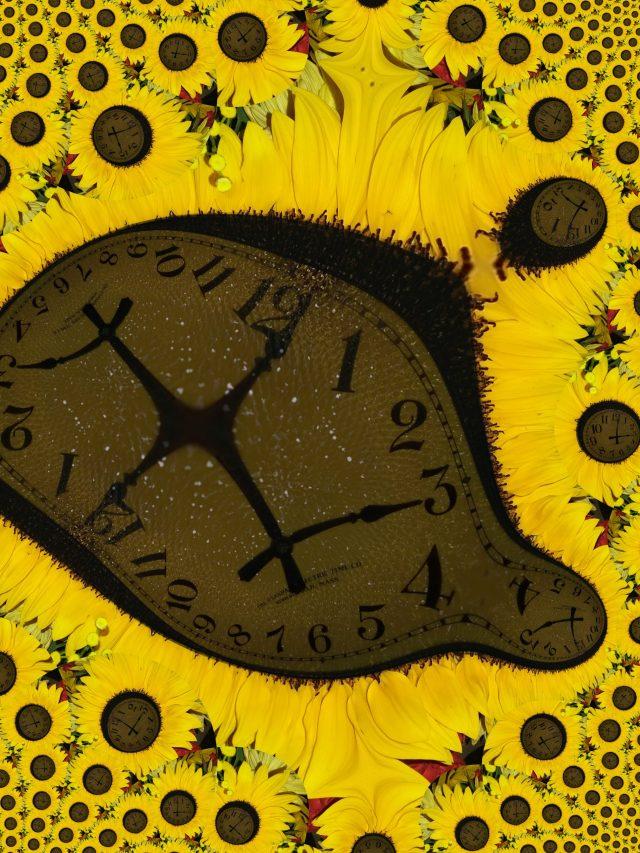 Warped sunflower clock, Mary Warner, 2019.