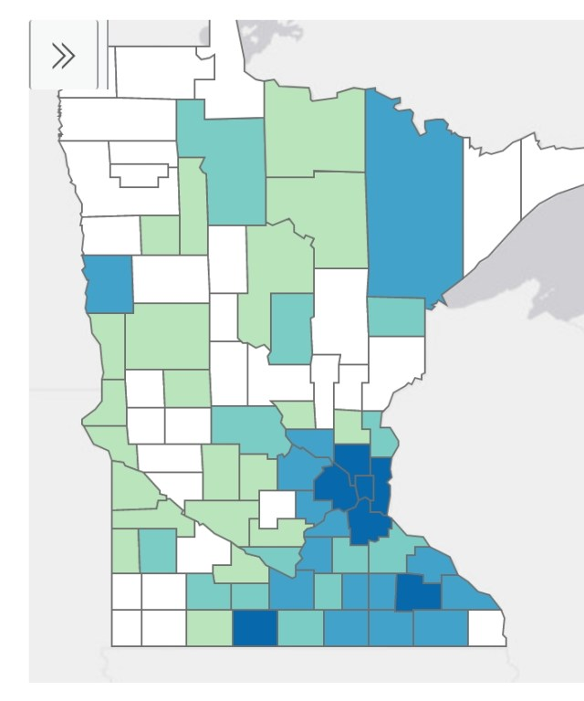 Minnesota Department of Health Situation Update for Coronavirus Disease 2019 (COVID-19), cases by county of residence, April 3, 2020.