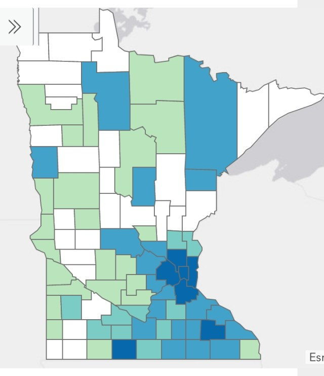 Minnesota Department of Health Situation Update for Coronavirus Disease 2019 (COVID-19), cases by county of residence, April 5, 2020.