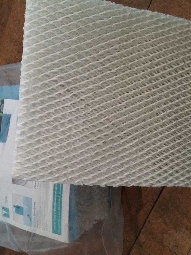 Filters for Honeywell Top Fill Cool Moisture Humidifier, Model HEV615, October 2020. I think these filters are a mix of paper and some form of plastic, which makes for a lot of plastic waste going into the garbage when the recommendation is to change them once a month.
