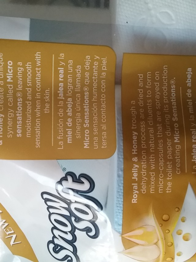Back of Snow Soft toilet paper packaging explaining the Micro Sensations process, November 2020.