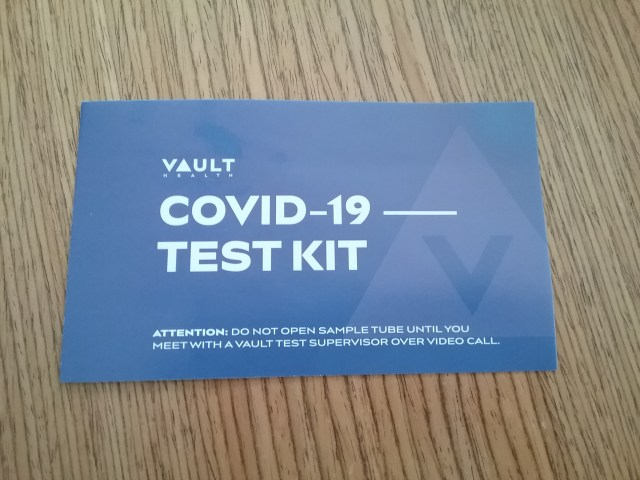 Insert from Vault's at-home COVID-19 test kit, March 20, 2021.