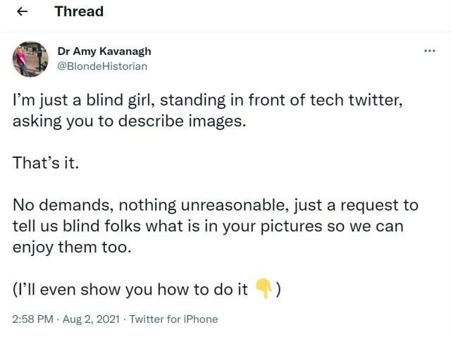"""Tweet by Dr. Amy Kavanagh @BlondeHistorian: """"I'm just a blind girl, standing in front of tech twitter, asking you to describe images. That's it. No demands, nothing unreasonable, just a request to tell us blind folks what is in your pictures so we can enjoy them too. (I'll even show you how to do it Down pointing backhand index),"""" August 2, 2021."""