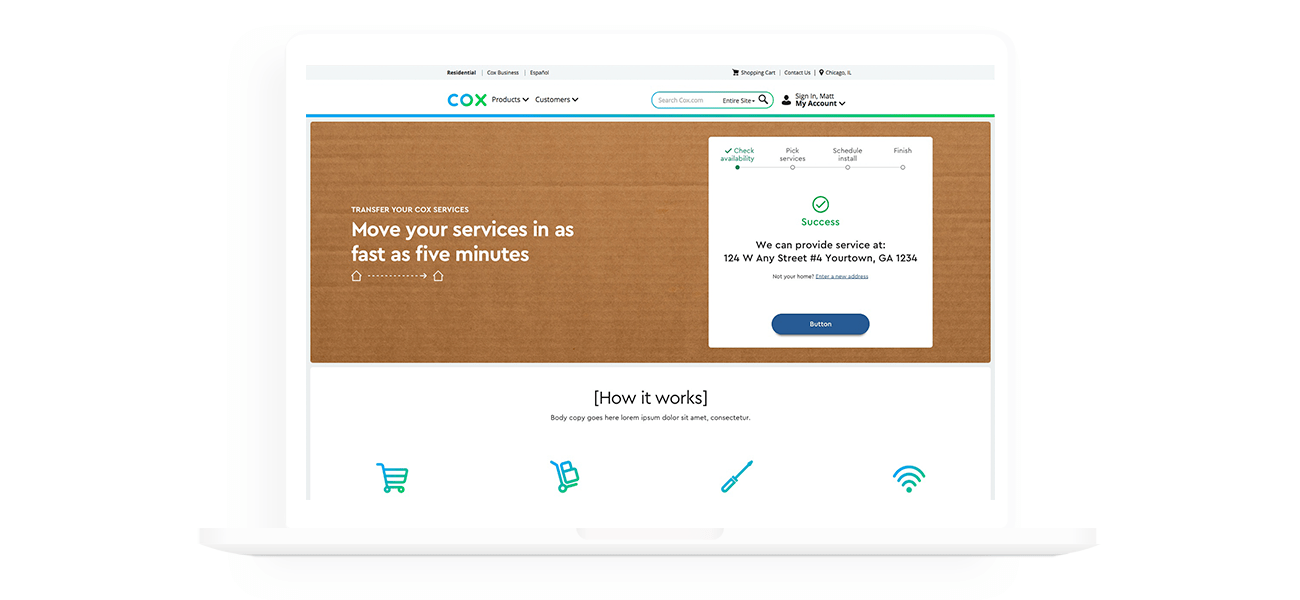 Desktop screen from the redesigned cox move/transfer flow