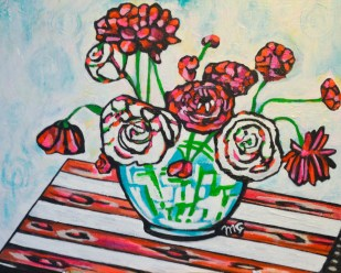 Ranunculus, 16 x 20, acrylic on canvas board