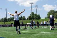 Penn State tight end Mike Gesicki raises his arms in celebration during the 2015 Lift for Life event. Every year the Penn State football team hosts the event to raise money for kidney cancer.