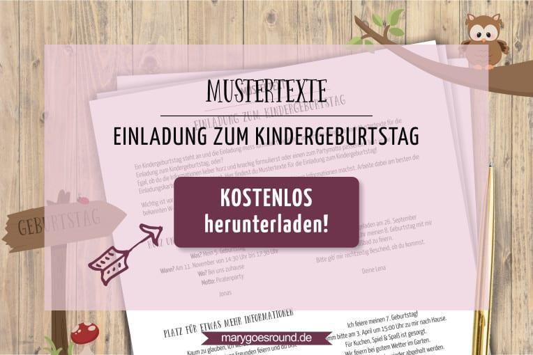 Mustertexte Für Die Einladung Zum Kindergeburtstag