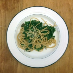 tti with kale mushrooms and miso