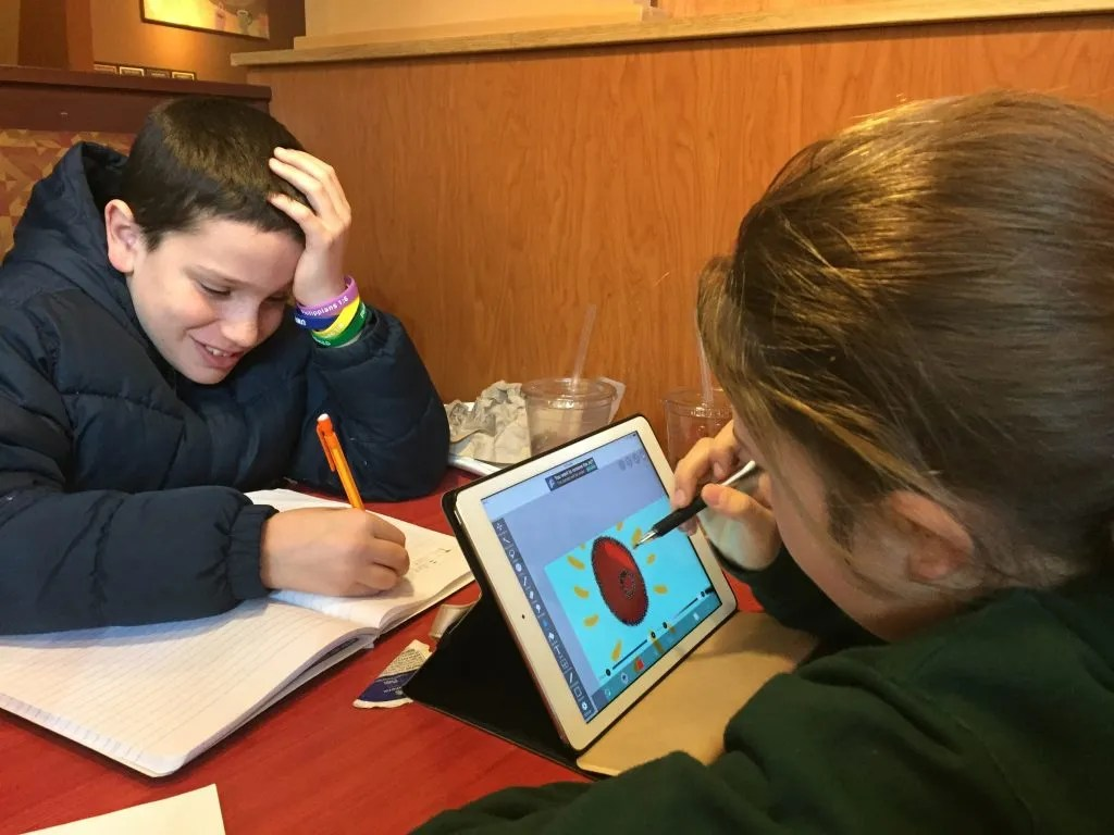 Homeschooling on the go, which we affectionately call Panera schooling.