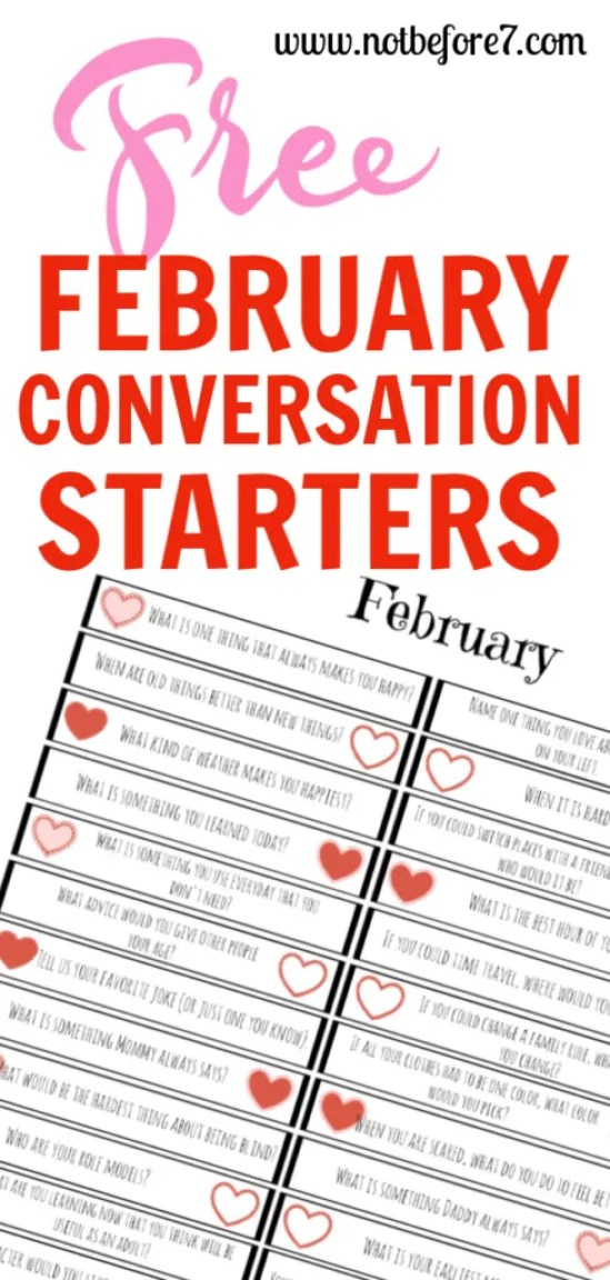 Grab your set of free February conversation starters.  Have fun with this february activitiy with your kids.