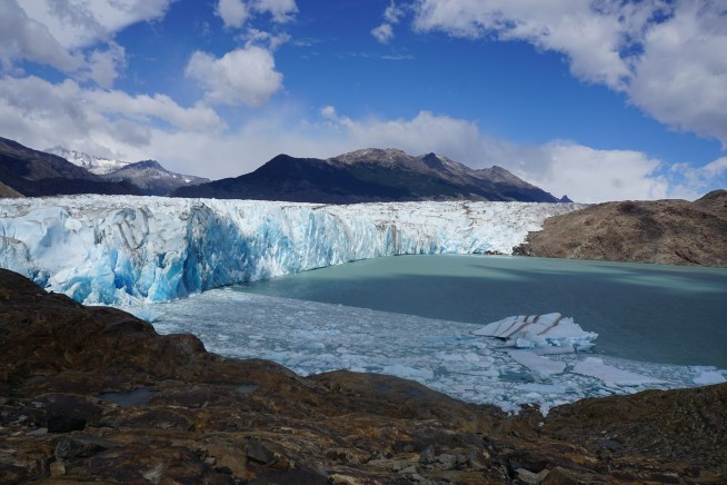The glacier used to be right next to the dock, but now it takes around 25 minutes to hike there