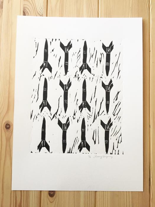 Rockets Linocut Print