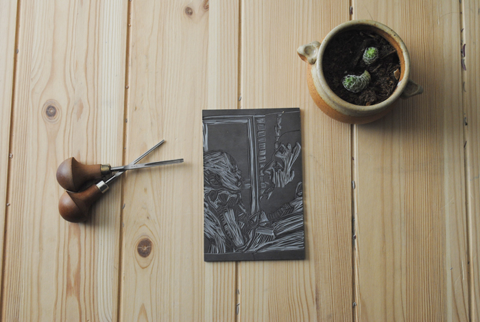 Linocut with carving tools