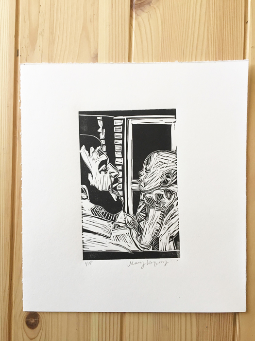Father and Daughter Linocut Print