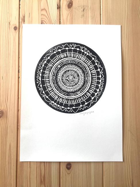 Mandala Linocut Print