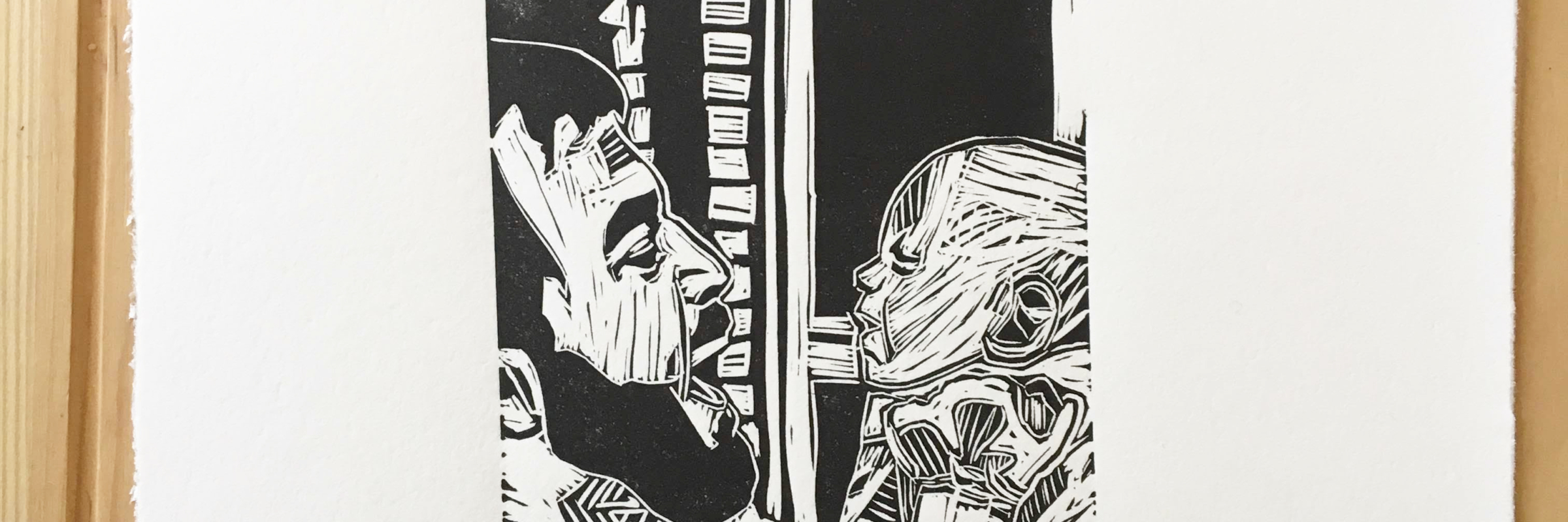 father and daughter original linocut relief print black copyright of Mary Vasquez