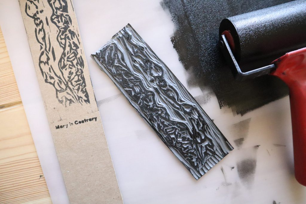 Original Print explained. Bookmarks, linocuts, and ink. copyright Mary Vasquez 2019